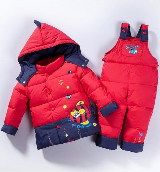 2019 Children boys girls winter warm down jacket suit set thick coat+jumpsuit baby clothes set kids jacket animal Horse fish