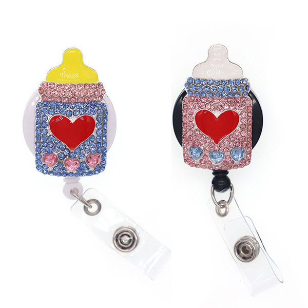 Bling Strass Medical Nurse Baby Flasche Yoyo ID Badge Holder rot Emaille Liebe Herzform Flasche einziehbare Badge Reel