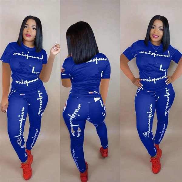 Women Summer Tracksuit Champions Letter Print Short Sleeves T-shirt Pants Leggings 2PCS Set Sportswear Outfit Jogger Set Clothes S-3XL A426