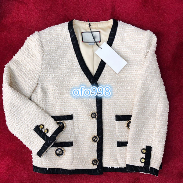 High end women girls denim jacket Button coat tops high-end custom v-neck Ladies Tweed Jacquard Winter Coat Slim-Fit Long Sleeve Trench Coat