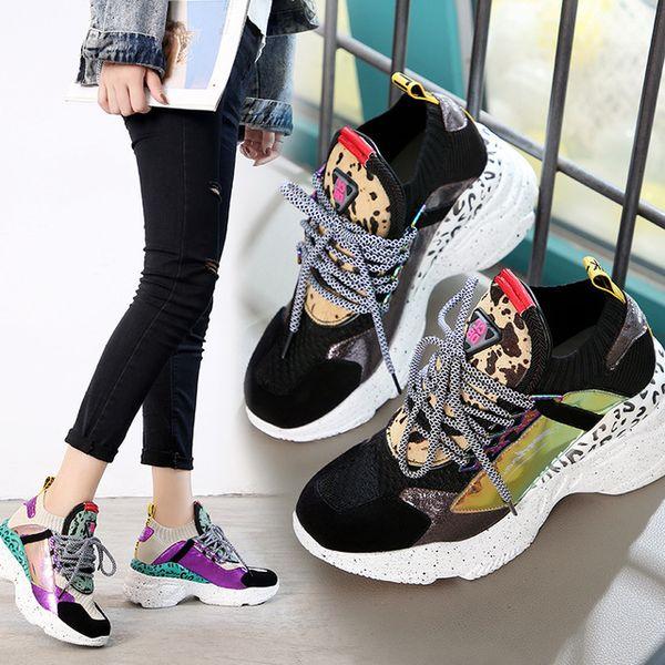 2019 весна новая женская обувь кожа соответствия цвета плоские повседневная обувь удобная спортивная обувь женщины