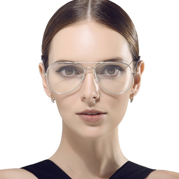 Large Oval Metal Ful-Rim Pilot Eyeglass Frame plain glass Spectacle Frames with thin Temple for men and women 3026