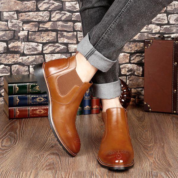 Frühling Winter Pelz herren Chelsea Stiefel Leder Lässig Geschnitzte Schuhe Männlichen Britischen Stil Slip-on Brautkleid Stiefeletten für Mann
