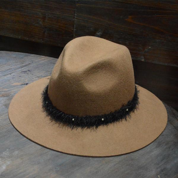 LEAYH Marca Otoño e Invierno Amantes ocasionales Lana de sol Sombrero de fieltro  Sombrero de ala 3f557b972843