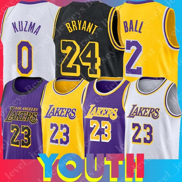 773fdacd58a Los Angeles Youth Laker Jersey LeBron Jersey James Kyle Jerseys Kuzma Lonzo  Jersey Ball Kobe Bryant