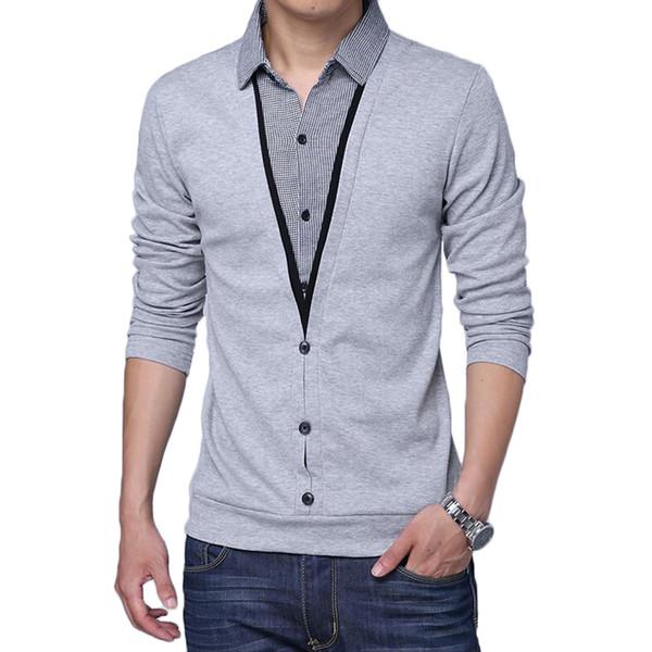 T-shirt de mangas compridas dos homens da marca primavera outono roupas homens malha camiseta patchwork colarinho falso dois design tops t camisas