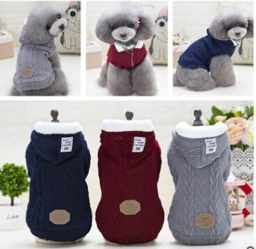 Dog Knitting Sweater Pet Hoodie Coat Fashion Winter Warm Dog Apparel Puppy Teddy Thick Jacket Costumes