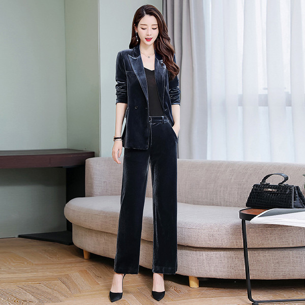 Women's trousers suit new women's temperament double-breasted velvet suit two-piece suit (coat + pants) women's business casual suits