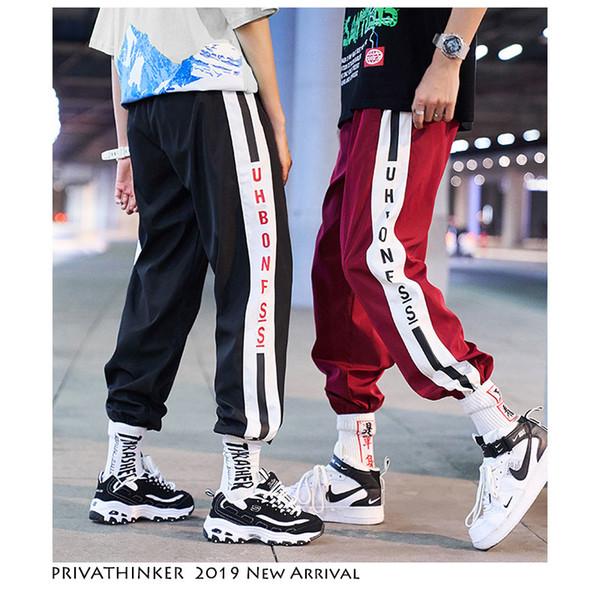 Privathinker Couple Clothing Hip Hop Jogger Streetwear 2019 Men Woman Pants Casual Male Side Stripe Ankle-length Pants Summer SH190902