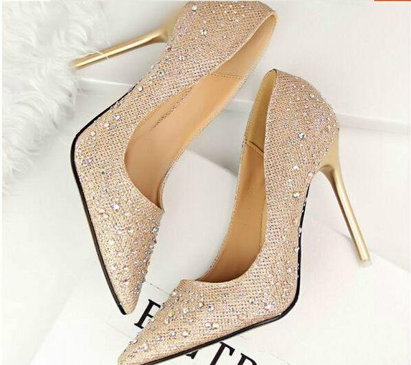 2019 elmas Düğün Ayakkabı Nedime Ayakkabı Gelin Pembe Ayakkabı Ucuz Açık gök mavisi Siyah Derin Gri Altın Gümüş Sıcak Satış