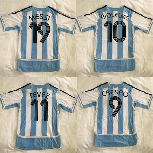 retro ARGENTINA 2006 MARADONA MESSI RIQUELME CRESPO TEVEZ soccer uniform kits soccer jerseys thai quality thailand quality football shirts