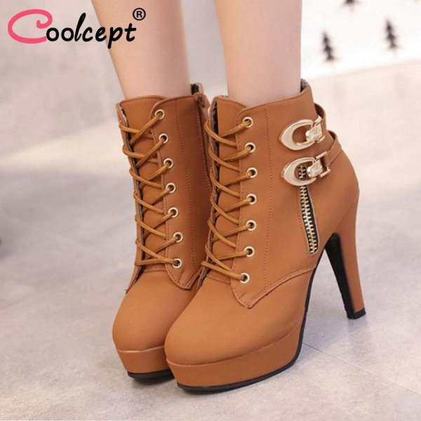 Coolcept Tamaño 35-43 Nuevo Otoño Invierno Mujer Botas de Alta Calidad Sólido Lace Up Zapatos de Las Señoras Europeas Botas Envío Gratis Calzado