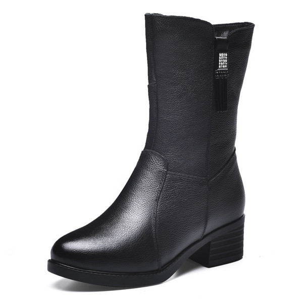 Woman Winter (Velvet) Leather Ankle boots New Fashion First Layer Cowhide Bowie Graceful zippe Non-slip Rubber Warm Martin Boot Size6.5-10.5