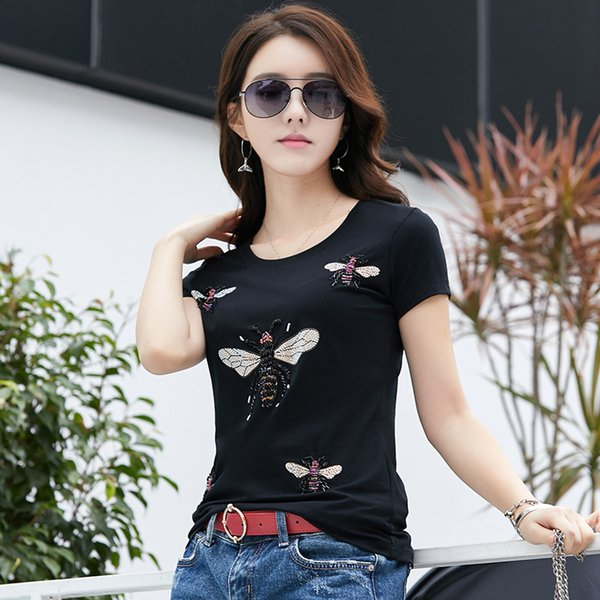 Summer Runway Beading Graphic Tees Women's Fashion Cotton Short Sleeve T-Shirt Office Lady Business Sexy Slim Elegant Plus Size Tops Tees