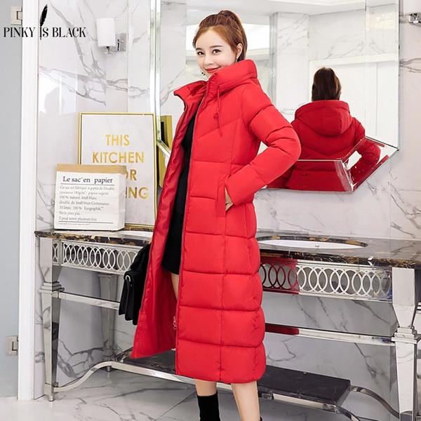 PinkyIsBlack 2019 New Fashion Women Winter Jacket Warm Hooded Female Womens Winter Coat Long Parkas Thicken Down Cotton OutwearMX190907
