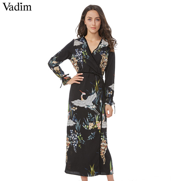 Vadim Flower Crane Pattern Maxi Wrap Dress V Neck Retro Sashes Bow Tie Long Sleeve Vintage Bird Chic Long Loose Casual Vestidos MX19070401