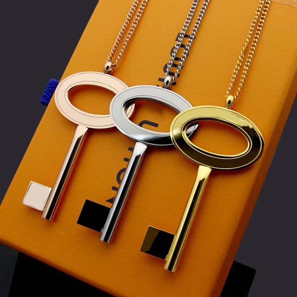 2019 Fashion designer Explosion models V letter key long necklace chain Foreign trade big key sweater chain Wedding Gifts
