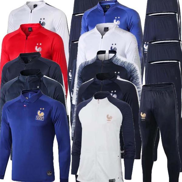 2019 2020 Fransız 2 YıLDıZ Maillot de Ayak survetement maillot de futbol ceket eşofman 18 19 FR MBAPPE POGBA futbol ceket eğitim suit