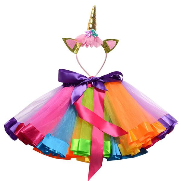 Unicorn Fascia Principessa Tutu Gonna 12 M-8 T Neonate Vestiti Arcobaleno Bambini Tutu Del Partito Per Le Ragazze Gonna Bambini Ball Gown