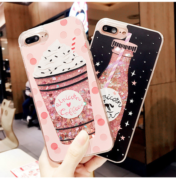 Glitter Bottle Quicksand Dynamic Phone Case For iPhone X XS Bling Flowing Love Heart For iPhone 8 7 Plus Case