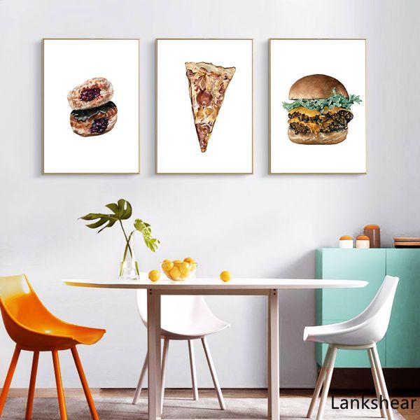 Nordic Bauernhaus Dekor Pizza Poster und Druck Hamburg Kunst Leinwand Malerei Küche Wandbild Für Esszimmer Keine Eingerahmt