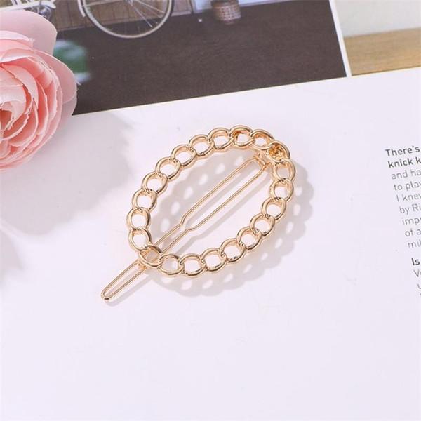 Minimalism Temperament Metal Hairpins Ellipse Hollow Bangs Clip Korean Cute Long Barrettes Women Fashion Hair Accessories