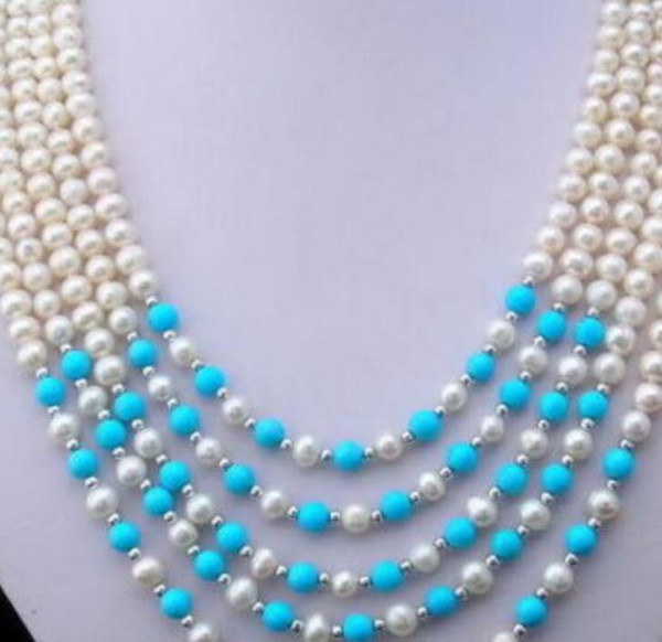 necklace Free shipping ++++ Miss charm Jew1963 Beautiful 5 row turquoise white pearl necklace 6-7mm