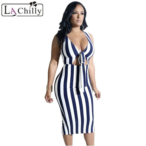 La Chilly Zomer Jurk 2018 Robe Casual Summer Dresses For Women Knot Cutout Front Slit Bodycon Midi Navy Striped Dress LC610244