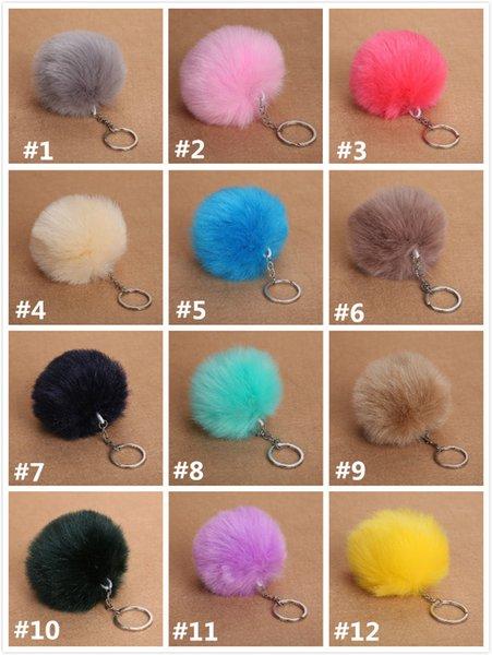 8 cm Faux Fur Bola Chaveiro Pompom Fluffy Adorável Chaveiro Chaveiro Bonito Pom Pom Porte Clef Para Mulheres Saco Charme Brinquedos presente