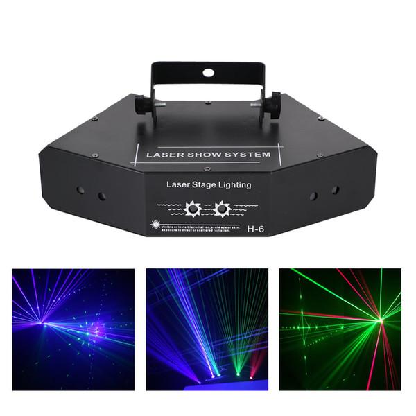AUCD DJ 6 Lens RGB Beam Network Wonderful DMX Laser Stage Lighting Home Wedding Holiday Party Show Proiettore Effetto luce B-X6