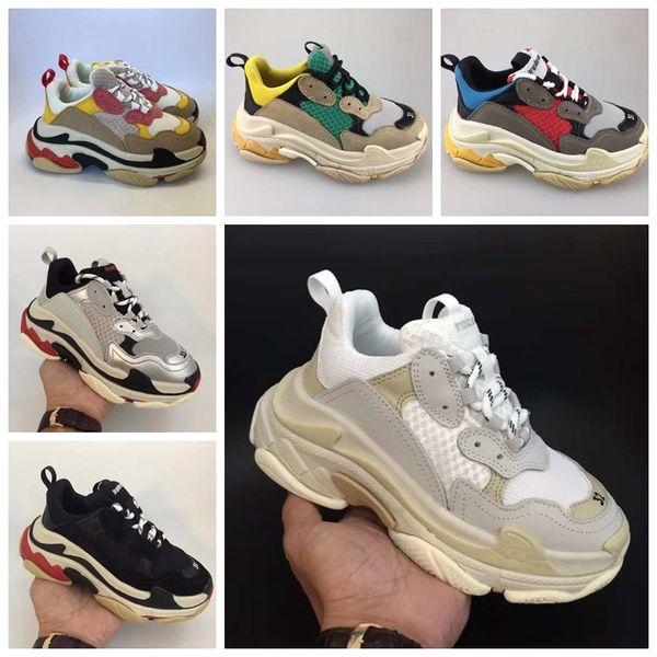 2019 Kids Luxury Schuhe Triple-s Big Kids Designer-Turnschuhe Paris Triple S Kinder Laufen Lässige Schuhe für Jungen Mädchen Trainer Größe 28-35