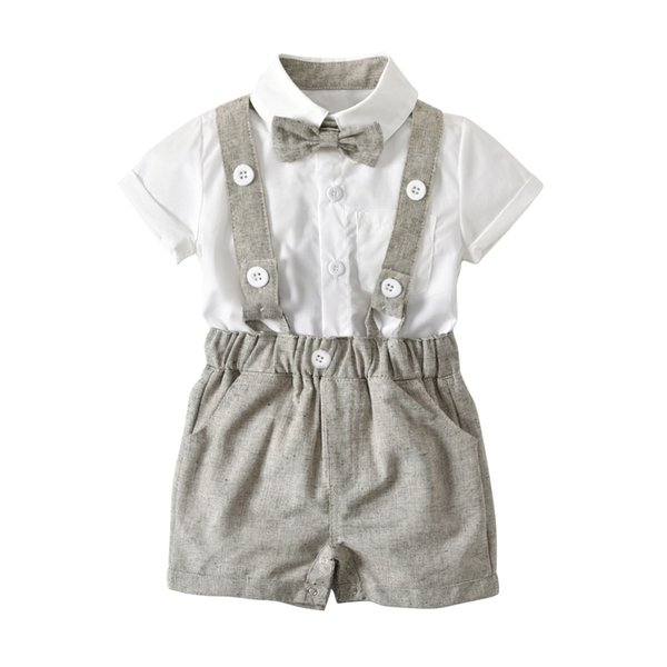 4 Colors Baby Boys Gentleman Outfits Set,Infant Short Sleeve Shirt+Bib Pants+Bow Tie Suspender Overalls Clothes Set 70-100cm