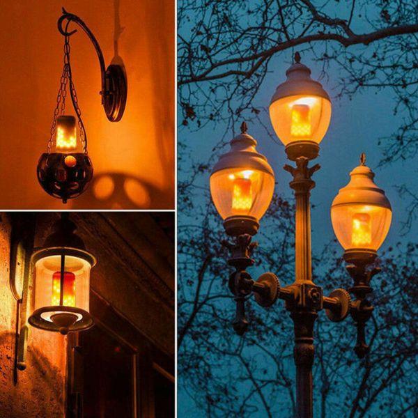 1pc LED flamme lampe 3 Mode + capteur de gravité Veilleuse LED 85-265V Flamme Effet Ampoule feu de Noël décoration d'Halloween