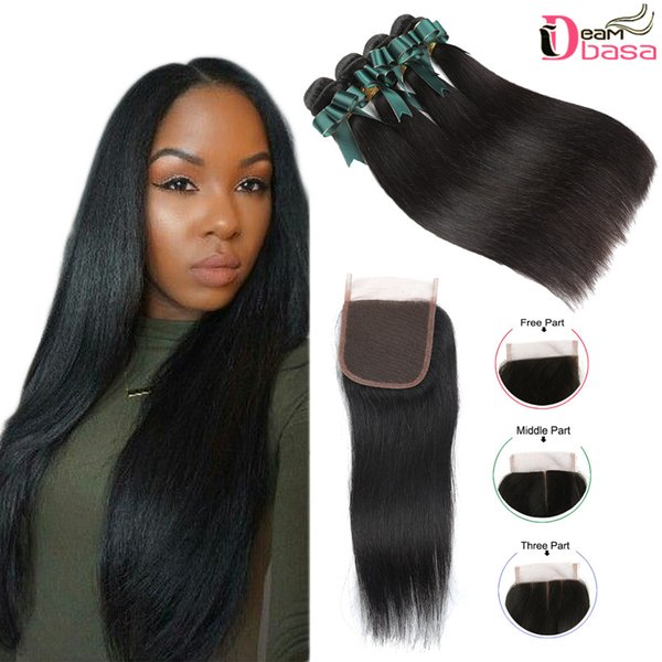 Mink Brazilian Straight Hair Bundles With Closure Human Virgin Hair Straight Weaves With 4x4 Lace Closure Brazilian Remy Straight Extension