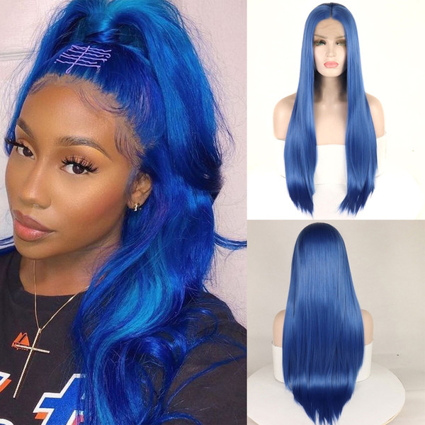 Blue Soft Straight Synthetic Hair Lace Front Wig Glueless Heat Resistant Fiber Hair Wigs For American African Women's Wig Daily&Cosplay