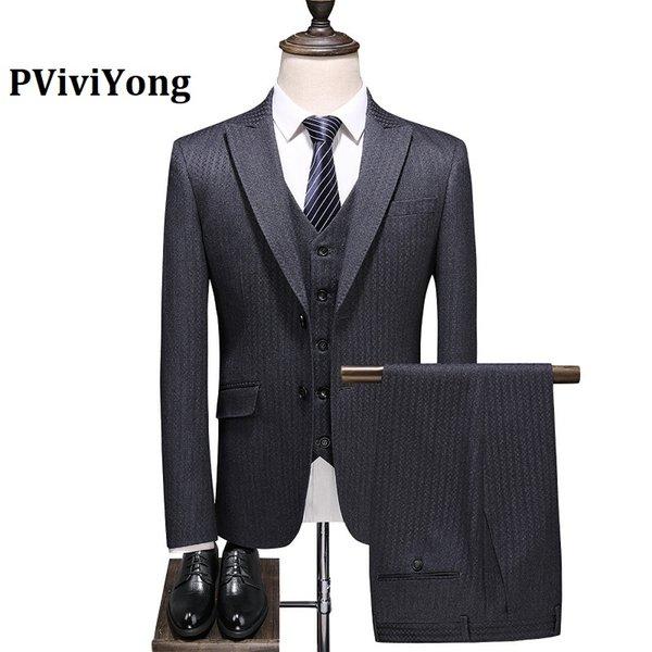 PViviYong marca 2019 del juego de los hombres de alta calidad de color gris juego de la raya de negocios de tres piezas (chaquetas + chaleco + pantalones) 6724