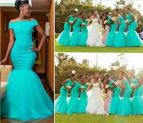 Aqua Teal Turkuaz Mermaid Gelinlik Modelleri Kapalı Omuz Uzun Dantelli Tül Afrika Stil Nijeryalı Nedime Elbisesi