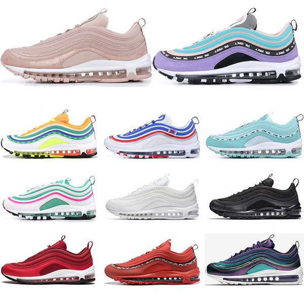 Großhandel Nike Air Max 97 2019 Laufschuhe Für Männer Court Lila South Beach Barely Rose Triple Weiß Schwarz Haben Sie Einen Tag Damen Trainer Sport