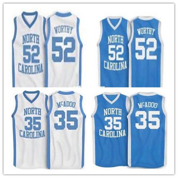 Cheap # 35 Bob McAdoo # 52 James degno North Carolina College pallacanestro Pullover Personalizzato personalizzato Jersey blu Bianco cucito Miglior Qu