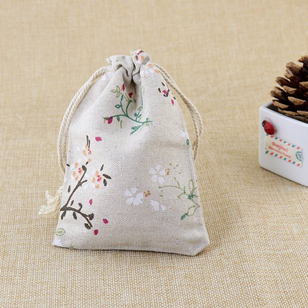 2016 Fashion Leaf Linen Cotton Bag 50pcs/Lot 9.5x13.5cm Drawstring Storage Bags Pouch For Tea Gifts Beads Jewelry Packaging