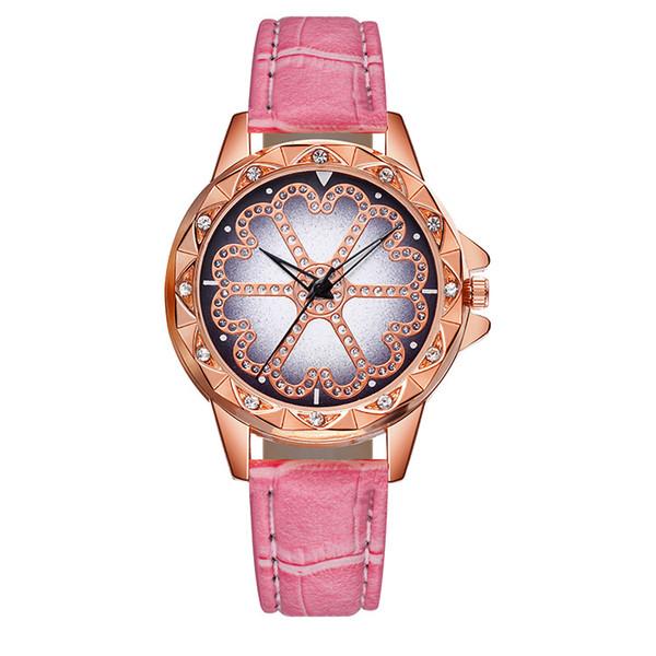 2019 Fashion Women's watch casual watches Bracelet Leather Crystal Flower Leather Quartz Wristwatch women