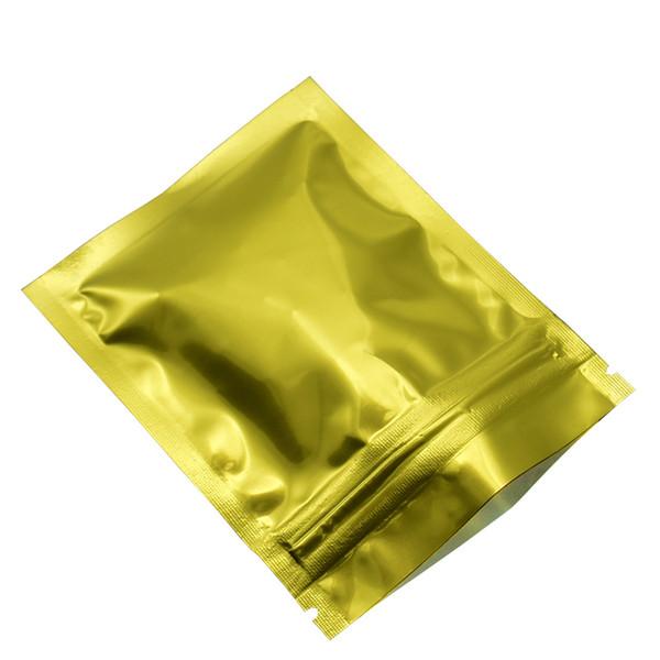 Ziplock Food Storage Bags Golden Color Aluminum Foil Valve Zipper Bag Heat Sealable Candy Coffee Snack Package Plastic Foil Pouches