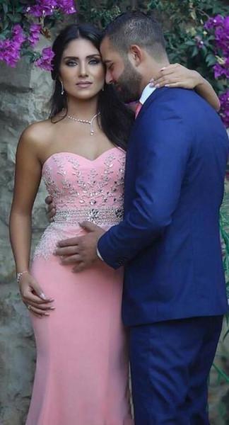 Pink Mermaid 2019 Nuovi abiti da sera arabi Sweetheart perline cristalli Satin Prom Dresses Sexy economici abiti da festa formale