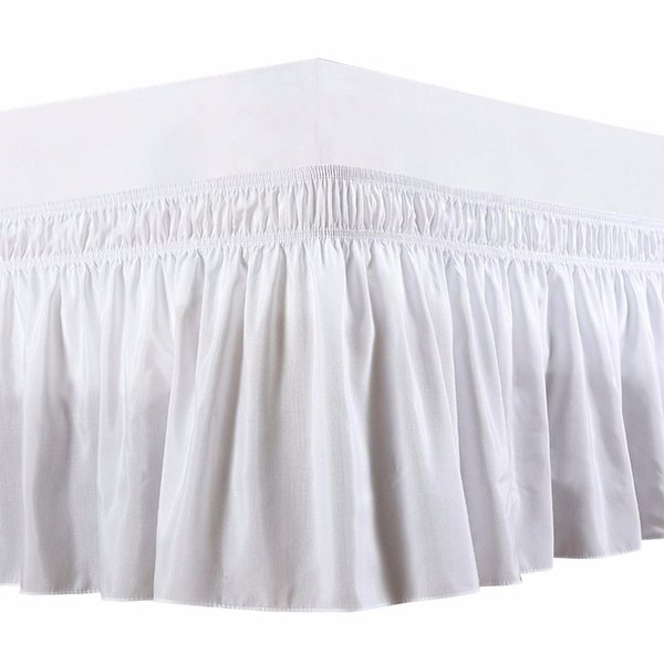 Three Fabric Sides Wrap Around Elastic Solid Bed Skirt, Elastic Band Without Bed Easy On/Easy Off Dust Ruffled Tailored Drop