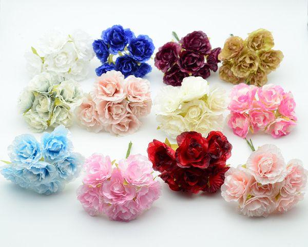 6 unids / paquete Seda Rosas Boda Accesorios de Decoración Del Hogar Para La Guirnalda de la Navidad Falsa De Plástico Diy Regalos Caja de Flores Artificiales