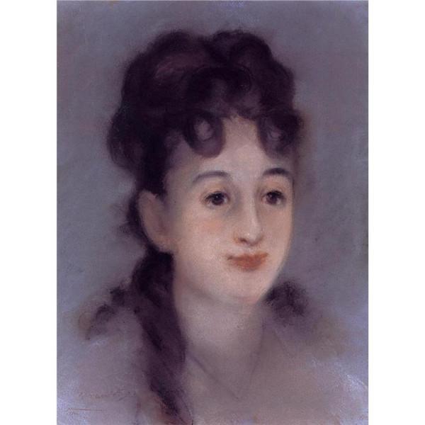 Leinwand Kunst Ölgemälde Edouard Manet Eva Gonzales schöne Porträt Frau für Wohnkultur