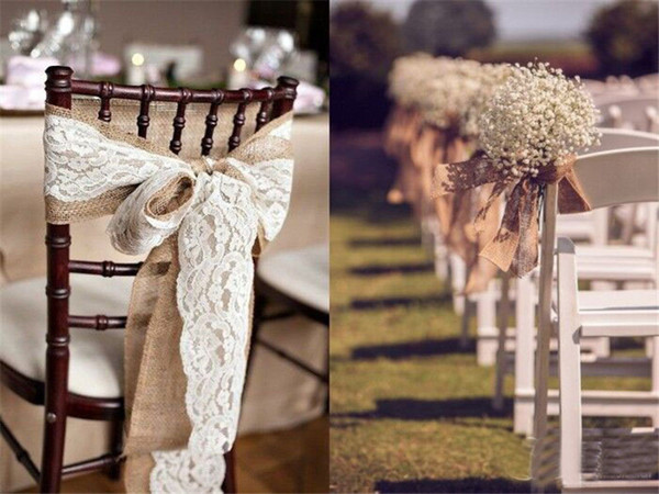 5pcs/lot 240CM*15CM Vintage Jute Burlaps With Lace Roll for Wedding Decoration in Table Runner Party Chair Sashes Home Decoration