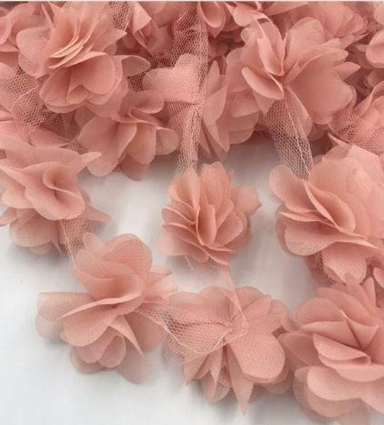 24pcs flowers 3D Chiffon Flowers Lace Dress Decoration Lace Fabric Applique Trimming Sewing Supplies