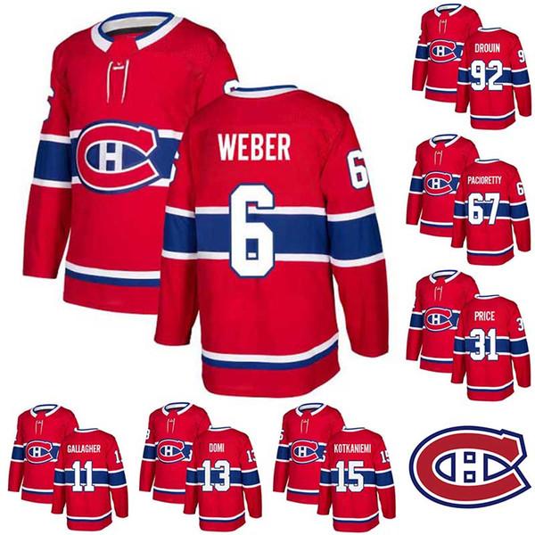 Montreal 6 Weber Jersey Canadiens 11 Gallagher 13 Domi 15 Kotkaniemi 31 Preis 67 Pacioretty 92 Drouin Mens Stitched Jersey