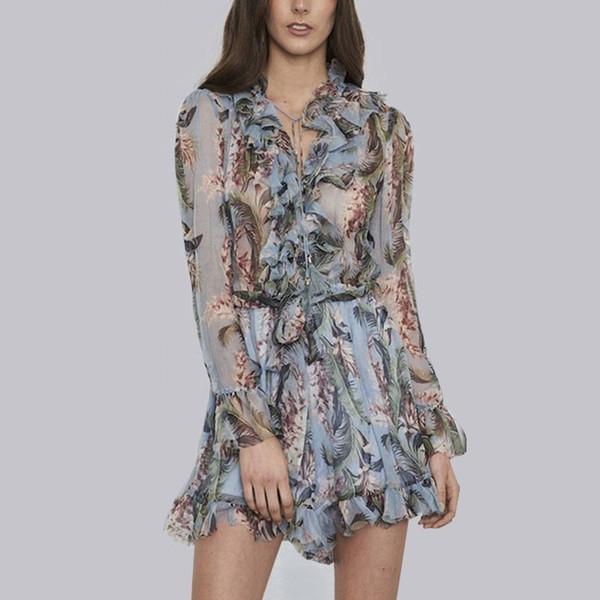 Print Playsuits Female Lace Up V Neck Flare Sleeve Tunic High Waist Ruffles Mini Jumpsuits Summer Thin Sweet
